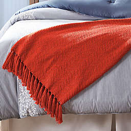 One Kings Lane Open House™ Milford Throw Blanket in Orange