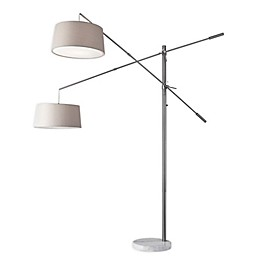 Adesso® Manhattan Two-Arm Arc Lamp in Brushed Steel