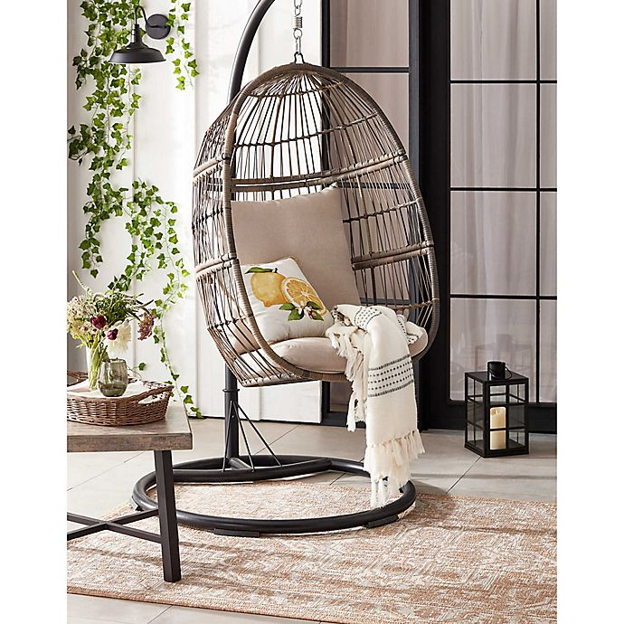 Bee Willow Home Hanging Patio Egg Chair In Oyster Bed Bath