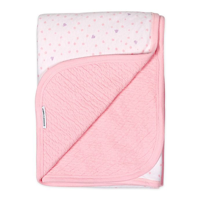 Alternate image 1 for The Honest Company Love Dot Receiving Blanket in White/Pink