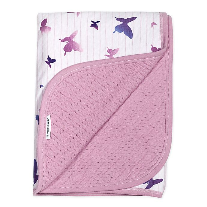 Alternate image 1 for The Honest Company Butterfly Receiving Blanket in White/Lavender
