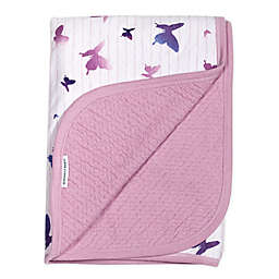 The Honest Company Butterfly Receiving Blanket in White/Lavender