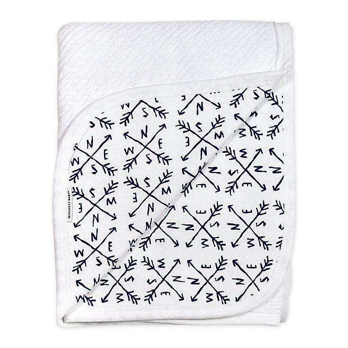 Alternate image 1 for The Honest Company Honest Separates Organic Cotton Receiving Blanket in White/Blue