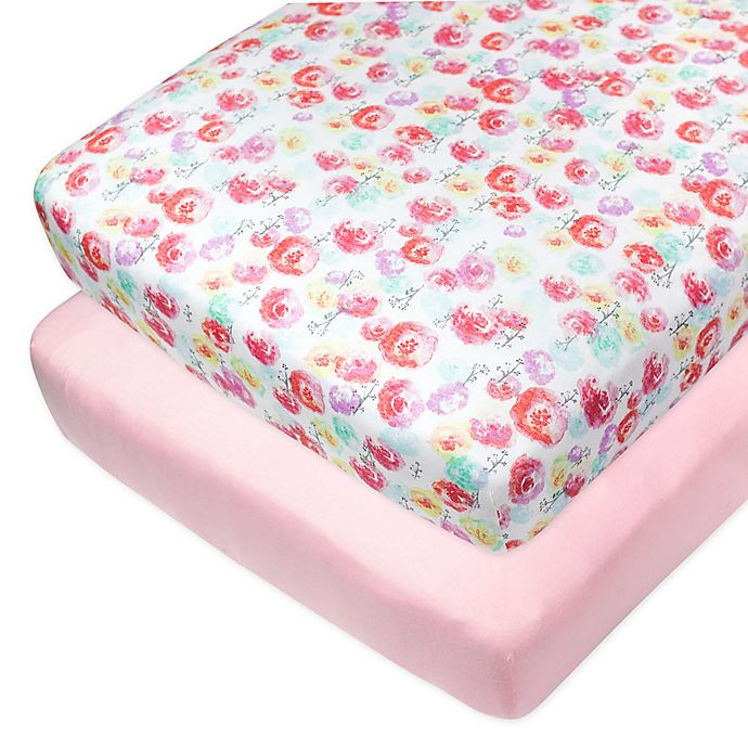 Alternate image 1 for The Honest Company® Rose Blossom 2-Pack Organic Cotton Fitted Crib Sheets