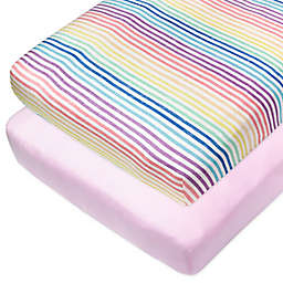 The Honest Company® Rainbow Stripe 2-Pack Organic Cotton Fitted Crib Sheets