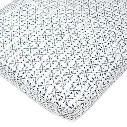 The Honest Company® Compass Organic Cotton Fitted Crib Sheet in White/Blue