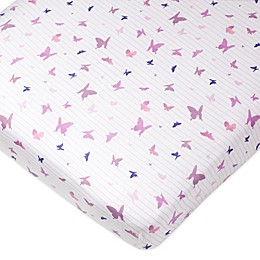 The Honest Company® Butterfly Organic Cotton Fitted Crib Sheet in White/Lavender
