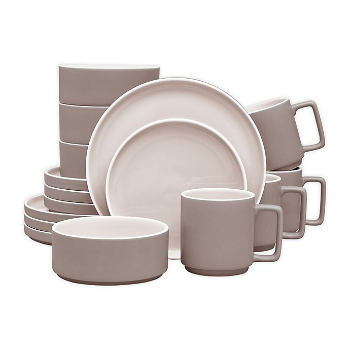 Alternate image 1 for Noritake® ColorTrio Stax 16-Piece Dinnerware Set in Clay