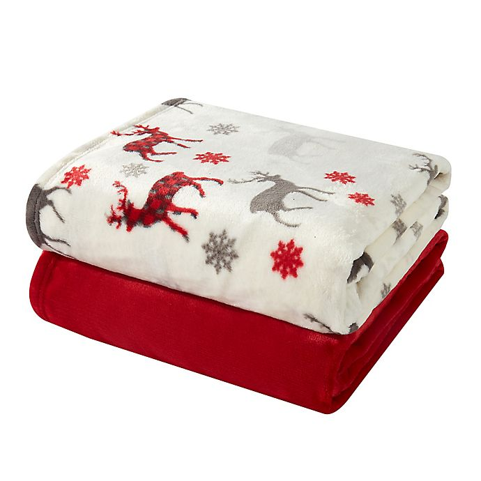 Alternate image 1 for Hudson Home Reindeer Throw Blankets in Red (Set of 2)
