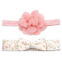 Khristie® 2-Pack Flower and Bow Headbands in Pink