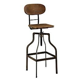 Industrial Style Wooden Swivel Bar Stool in Brown/Black