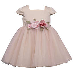 Bonnie Baby Short Sleeve Ballerina Dress in Cream/Blush