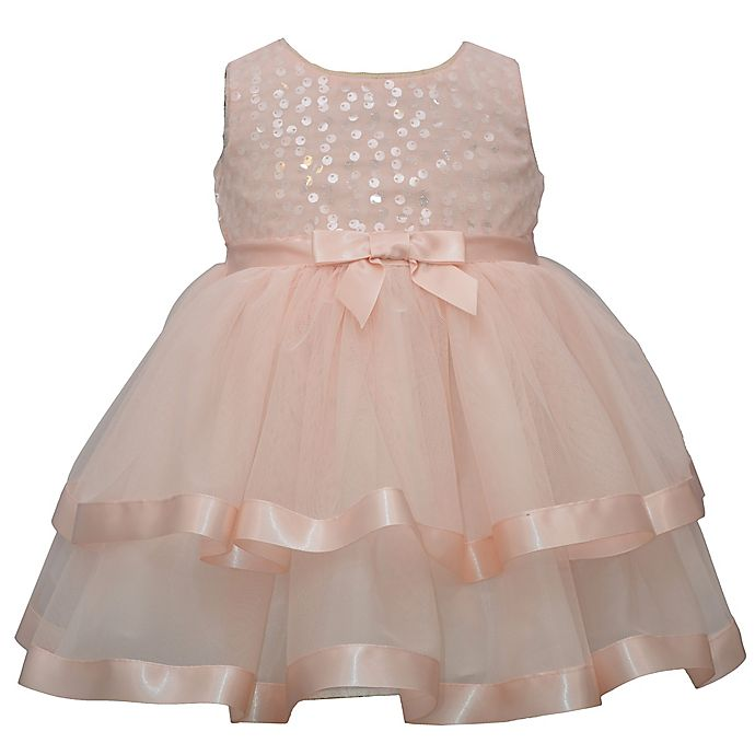 Alternate image 1 for Bonnie Baby Bow Front Tiered Dress in Blush