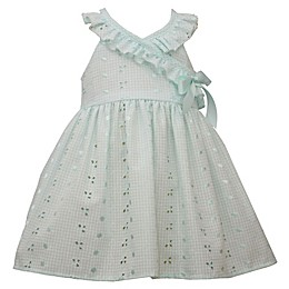 Bonnie Baby Ruffle Eyelet Dress in Aqua