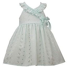 Bonnie Baby Ruffle Eyelet Dress in Aqua