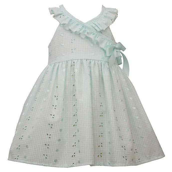 Alternate image 1 for Bonnie Baby Ruffle Eyelet Dress in Aqua