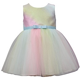 Bonnie Baby Pastel Ombre Glitter Stripe Ballerina Dress
