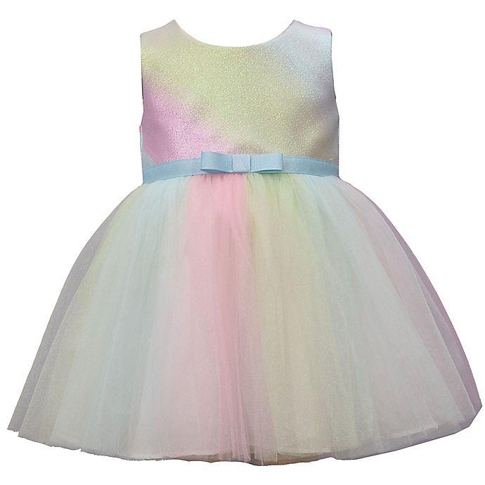 Alternate image 1 for Bonnie Baby Pastel Ombre Glitter Stripe Ballerina Dress