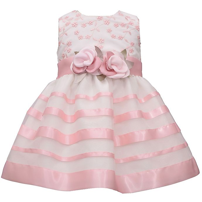 Alternate image 1 for Bonnie Baby Embroidered Stripe Dress in Pink