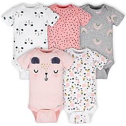 Gerber® Onesies® 5-Pack Girl Bear Short Sleeve Bodysuits in Pink/White