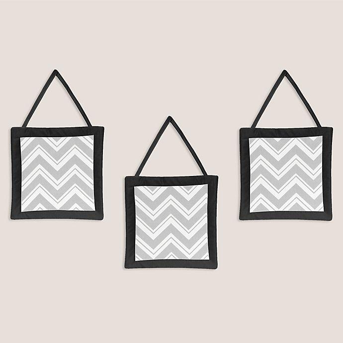 Alternate image 1 for Sweet Jojo Designs Zig Zag 3-Piece Wall Hanging Set in Grey/Black