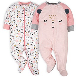 Gerber® 2-Pack Bear Sleep 'N Plays in White/Pink