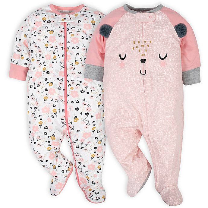 Alternate image 1 for Gerber® Size 3-6M 2-Pack Bear Sleep 'N Plays in White/Pink