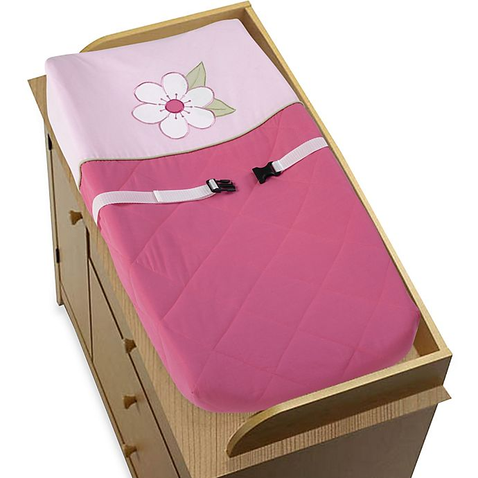 Alternate image 1 for Sweet Jojo Designs Flower Changing Pad Cover in Pink/Green