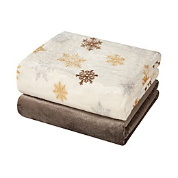 Hudson Home Snowflake Throw Blankets in Gold (Set of 2)