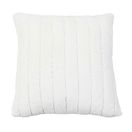 Samantha Stripe Faux Fur Square Throw Pillow in Egret