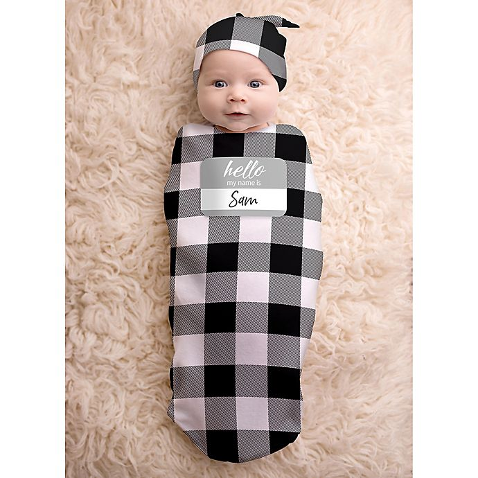 Alternate image 1 for Itzy Ritzy® 2-Piece Buffalo Check Swaddle Cocoon and Hat Set
