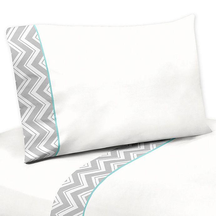 Sweet Jojo Designs Zig Zag Sheet Set In Turquoise Grey Bed Bath Beyond