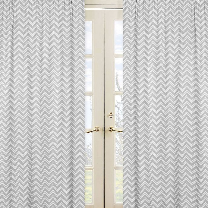 Alternate image 1 for Sweet Jojo Designs Zig Zag Chevron Window Curtain Panel Pair in Grey/White