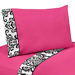 Sweet Jojo Designs Isabella Sheet Set in Hot Pink/Black/White