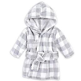 Hudson Baby® Size 0-9M Plaid Plush Robe in Grey/White