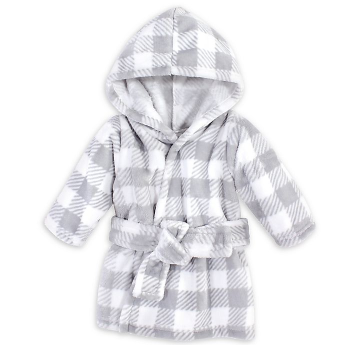 Alternate image 1 for Hudson Baby® Size 0-9M Plaid Plush Robe in Grey/White