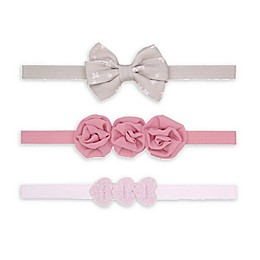 carter's® 3-Pack Heart Bow Headwraps in Pink/Grey