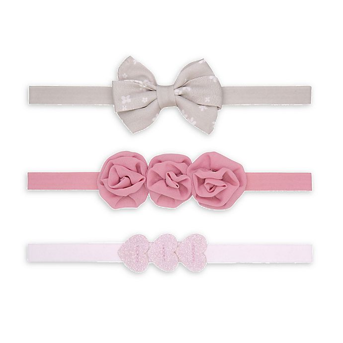 Alternate image 1 for carter's® 3-Pack Heart Bow Headwraps in Pink/Grey