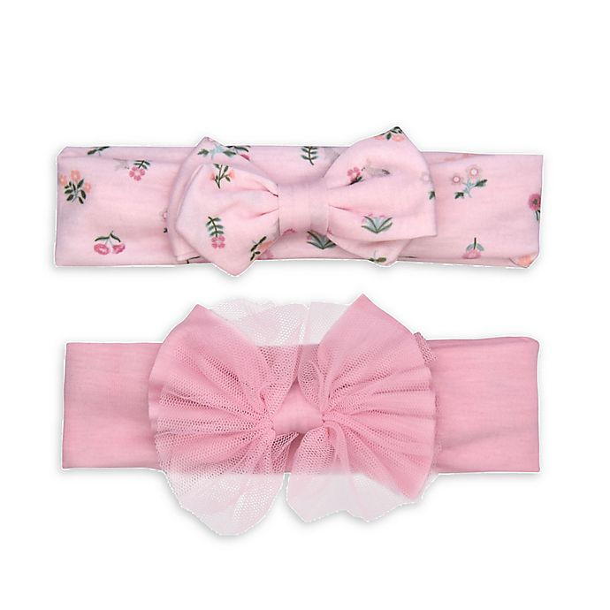 Alternate image 1 for carter's® 2-Pack Jersey Bow Headwraps in Pink