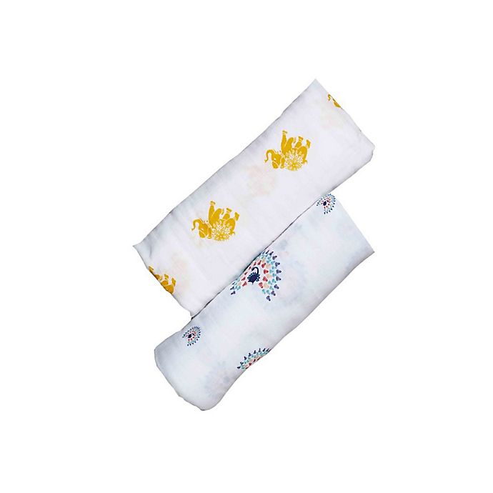 Alternate image 1 for Malabar Baby 2-Pack Majestic Animals Organic Cotton Swaddle Blankets
