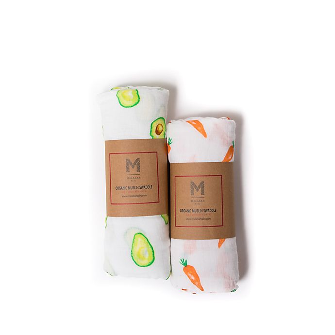 Alternate image 1 for Malabar Baby 2-Pack First Foods Organic Cotton Swaddle Blankets