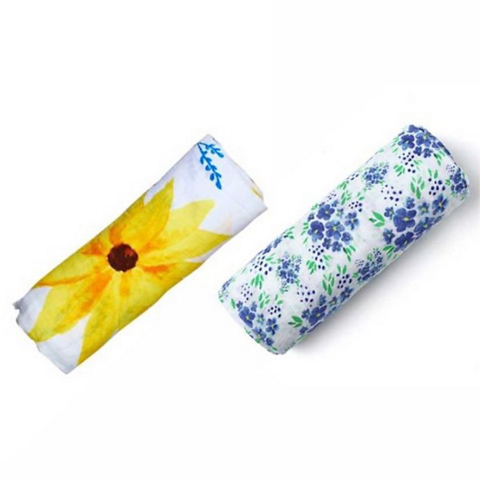 Alternate image 1 for Malabar Baby 2-Pack Fresh Fields Organic Cotton Swaddle Blankets