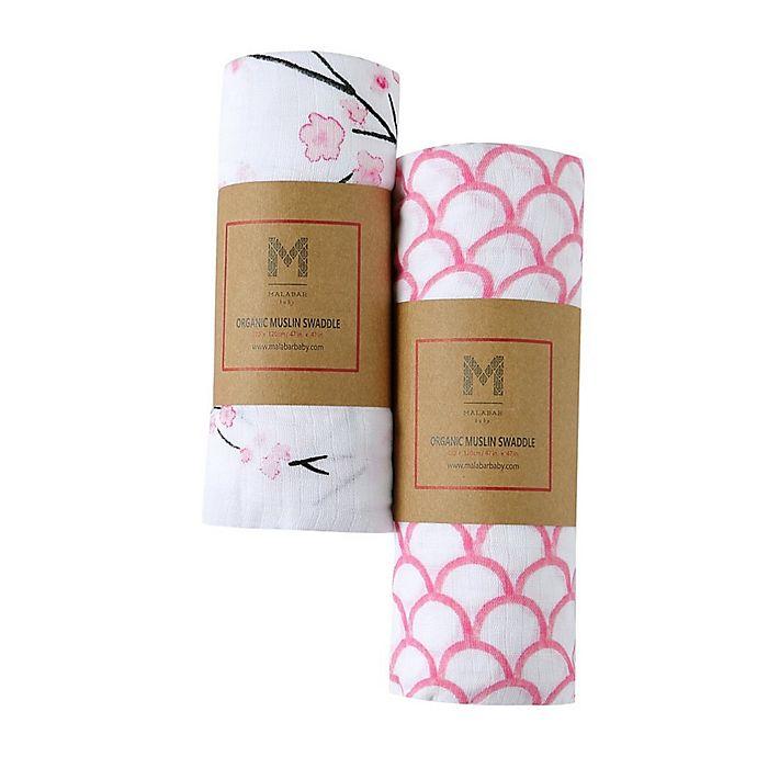 Alternate image 1 for Malabar Baby 2-Pack Sakura Organic Cotton Swaddle Blankets