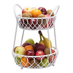 Gourmet Basics By Mikasa® Iron 2-Tier Fruit Basket/Hanger in White