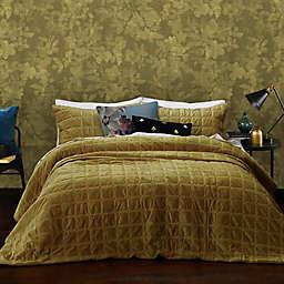MM Linen Meeka 3-Piece Velvet Raffia Queen Comforter Set in Gold