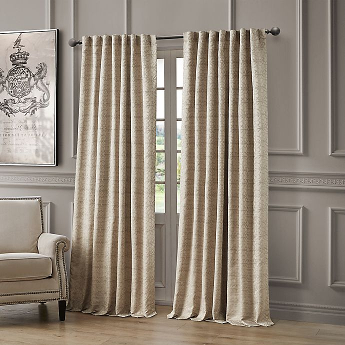 Alternate image 1 for Waterford® Astrid 84-Inch Rod Pocket/Back Tab Window Curtain Panel in Taupe