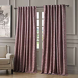 Waterford Renly 96-Inch Rod Pocket/Back Tab Room Darkening Window Curtain Panel in Mulberry