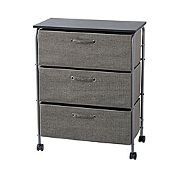 ORG 3-Drawer Extra Wide Storage Cart with Wheels in Grey