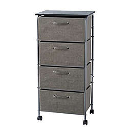 ORG 4-Drawer Storage Cart with Wheels in Grey