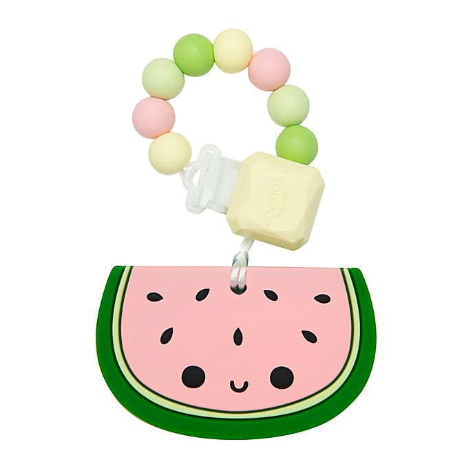Alternate image 1 for Loulou Lollipop® Watermelon Teething Ring with Clip in Pink/Green